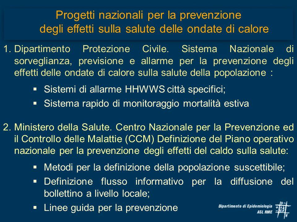 Progetti nazionali per la prevenzione degli effetti sulla salute delle ondate di calore