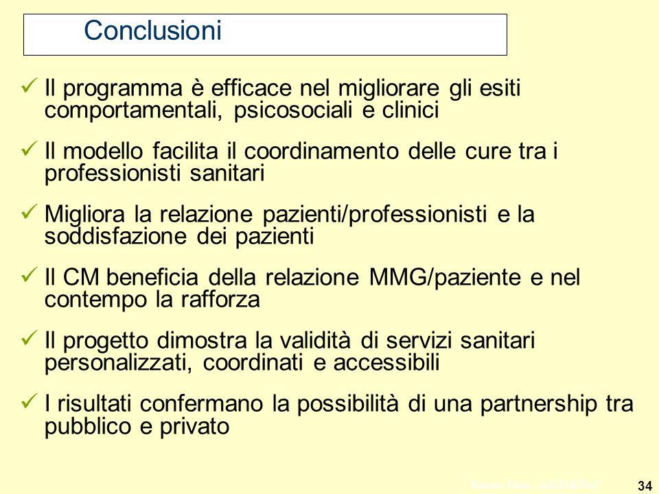 Conclusioni Il programma è efficace nel migliorare gli esiti comportamentali, psicosociali e clinici.