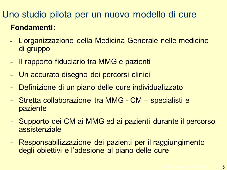 Uno studio pilota per un nuovo modello di cure