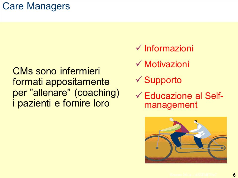 Care Managers Informazioni. Motivazioni. Supporto. Educazione al Self- management.