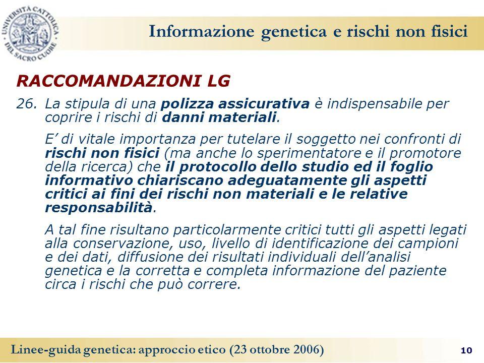 Informazione genetica e rischi non fisici