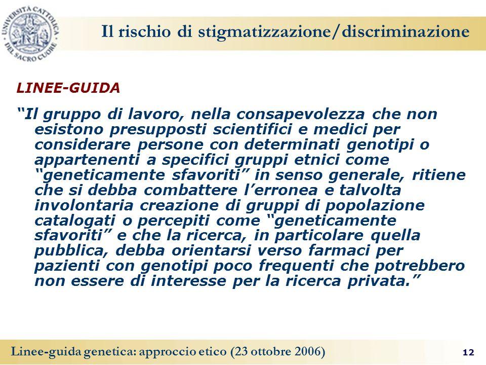 Il rischio di stigmatizzazione/discriminazione
