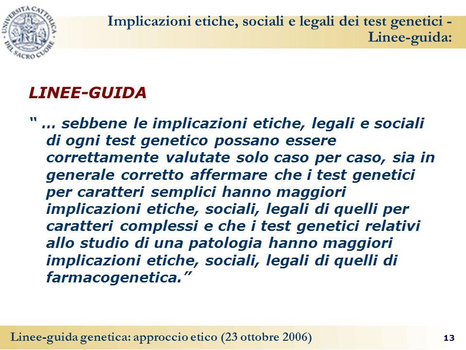 Implicazioni etiche, sociali e legali dei test genetici - Linee-guida: