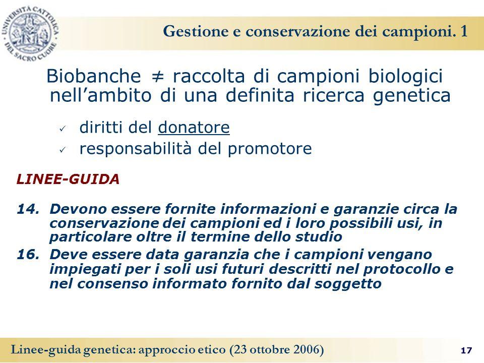 Gestione e conservazione dei campioni. 1