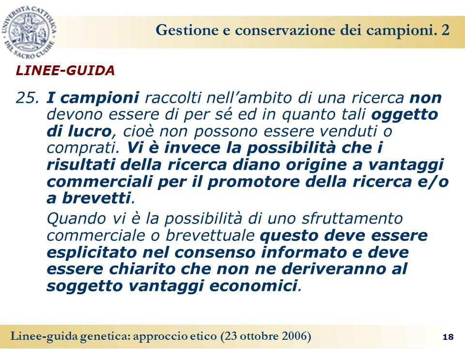 Gestione e conservazione dei campioni. 2
