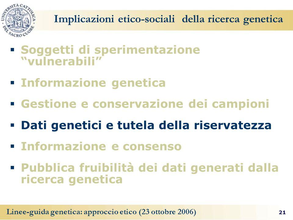 Implicazioni etico-sociali della ricerca genetica