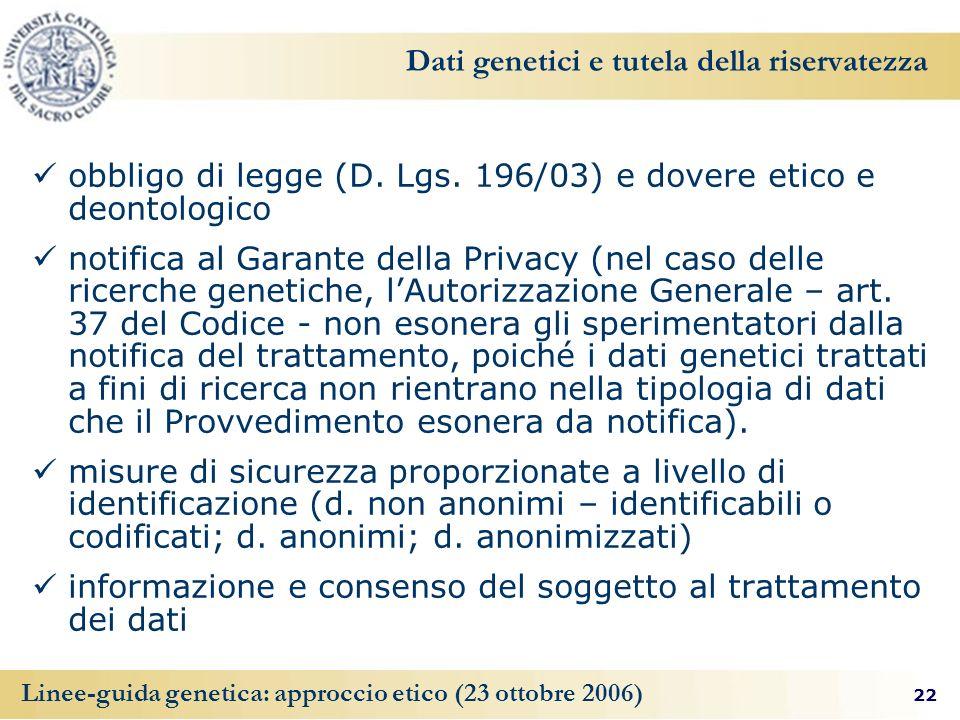 Dati genetici e tutela della riservatezza
