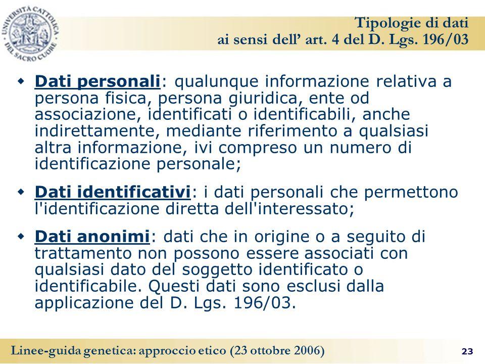 Tipologie di dati ai sensi dell' art. 4 del D. Lgs. 196/03