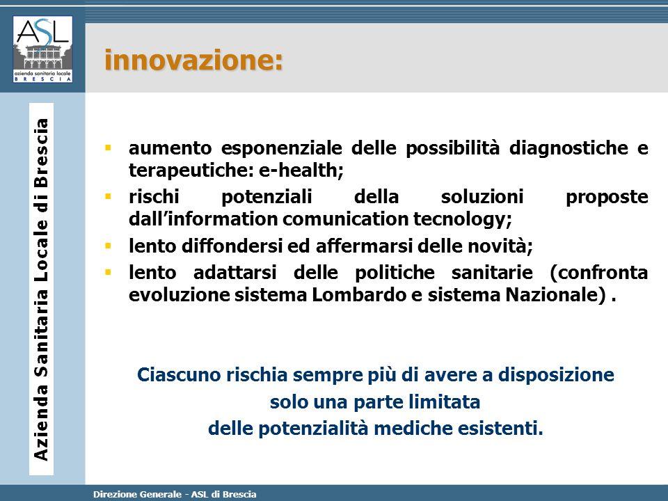 innovazione: aumento esponenziale delle possibilità diagnostiche e terapeutiche: e-health;