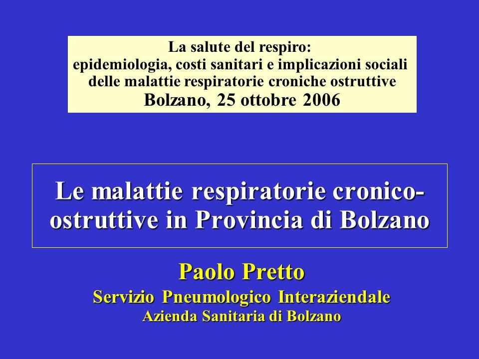 Le malattie respiratorie cronico-ostruttive in Provincia di Bolzano