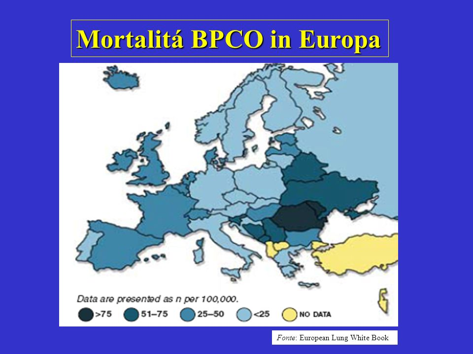 Mortalitá BPCO in Europa