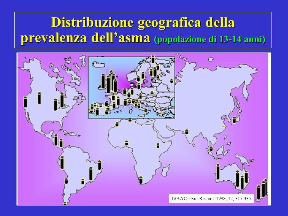 Distribuzione geografica della prevalenza dell'asma (popolazione di 13-14 anni)