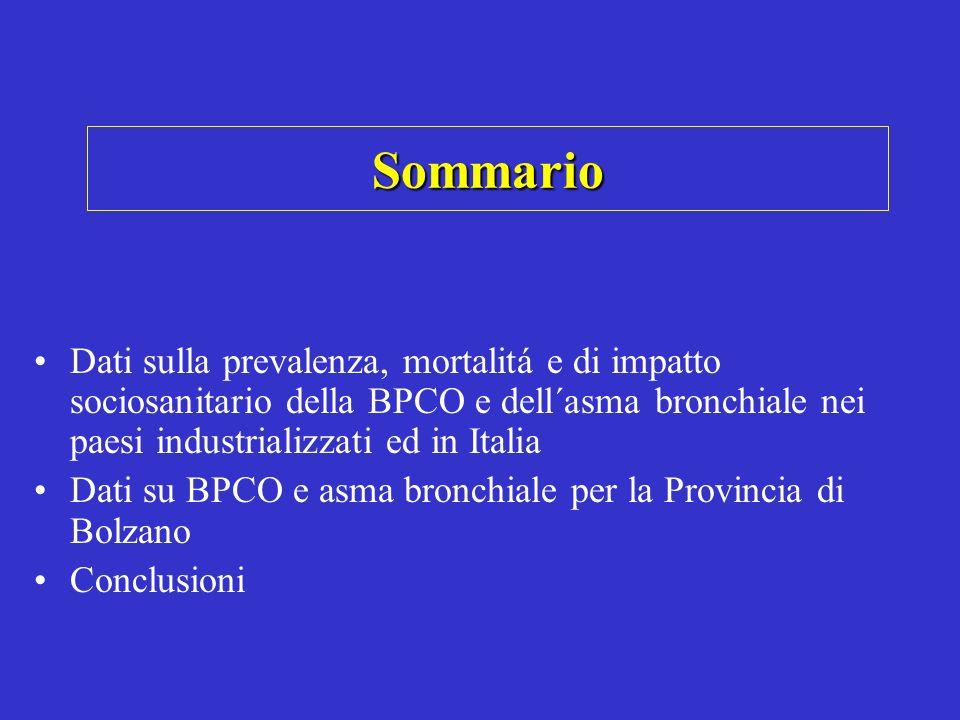 Sommario Dati sulla prevalenza, mortalitá e di impatto sociosanitario della BPCO e dell´asma bronchiale nei paesi industrializzati ed in Italia.