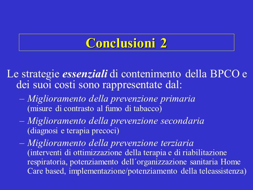 Conclusioni 2 Le strategie essenziali di contenimento della BPCO e dei suoi costi sono rappresentate dal: