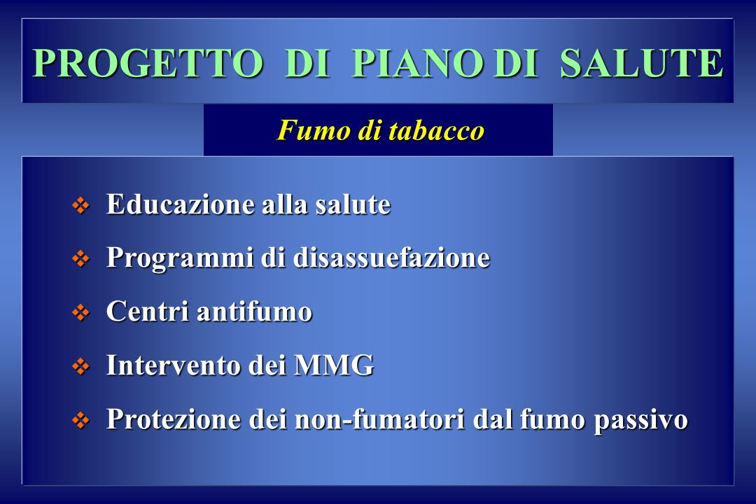 PROGETTO DI PIANO DI SALUTE