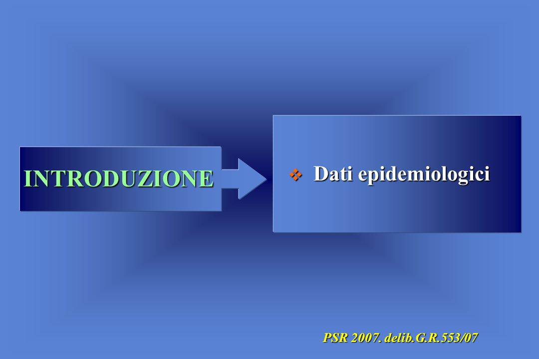 Dati epidemiologici INTRODUZIONE PSR 2007. delib.G.R.553/07