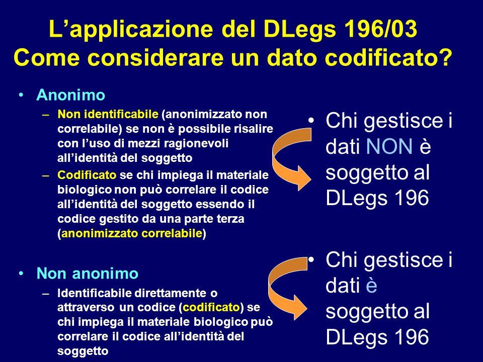 L'applicazione del DLegs 196/03 Come considerare un dato codificato