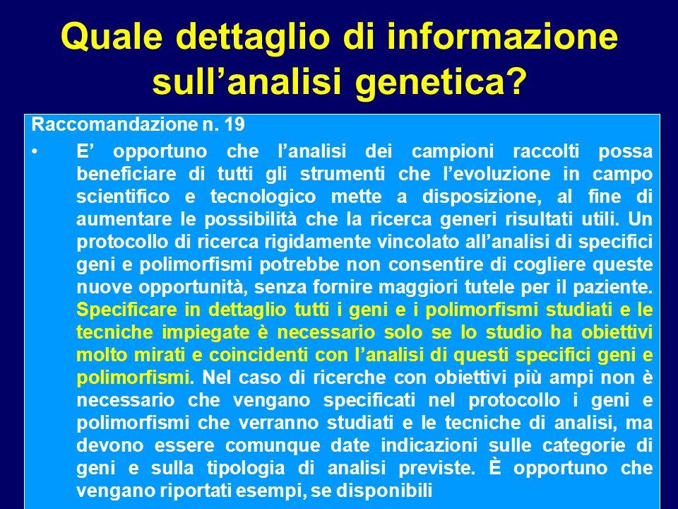 Quale dettaglio di informazione sull'analisi genetica