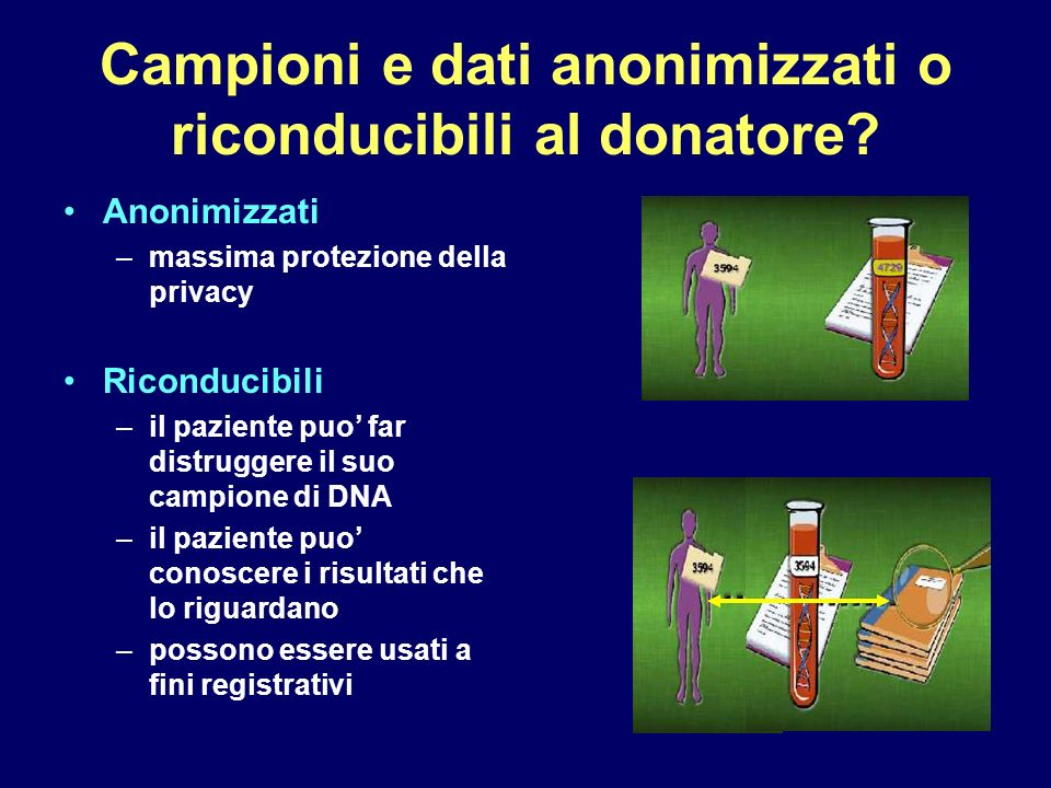 Campioni e dati anonimizzati o riconducibili al donatore