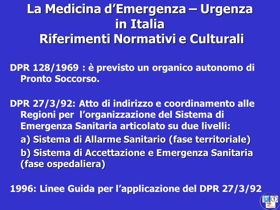 La Medicina d'Emergenza – Urgenza in Italia Riferimenti Normativi e Culturali