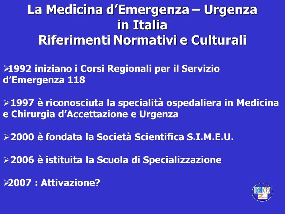 La Medicina d'Emergenza – Urgenza Riferimenti Normativi e Culturali