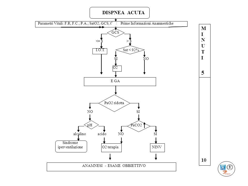 DISPNEA ACUTA Parametri Vitali: F.R; F.C.; P.A.; SatO2; GCS; t° / Prime Informazioni Anamnestiche.