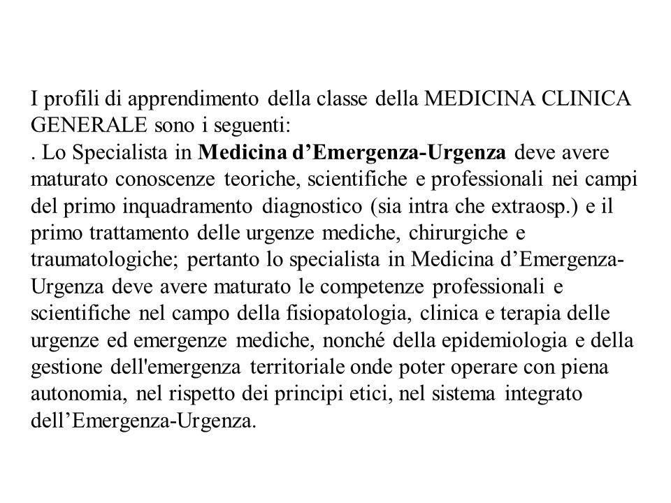 I profili di apprendimento della classe della MEDICINA CLINICA GENERALE sono i seguenti: .