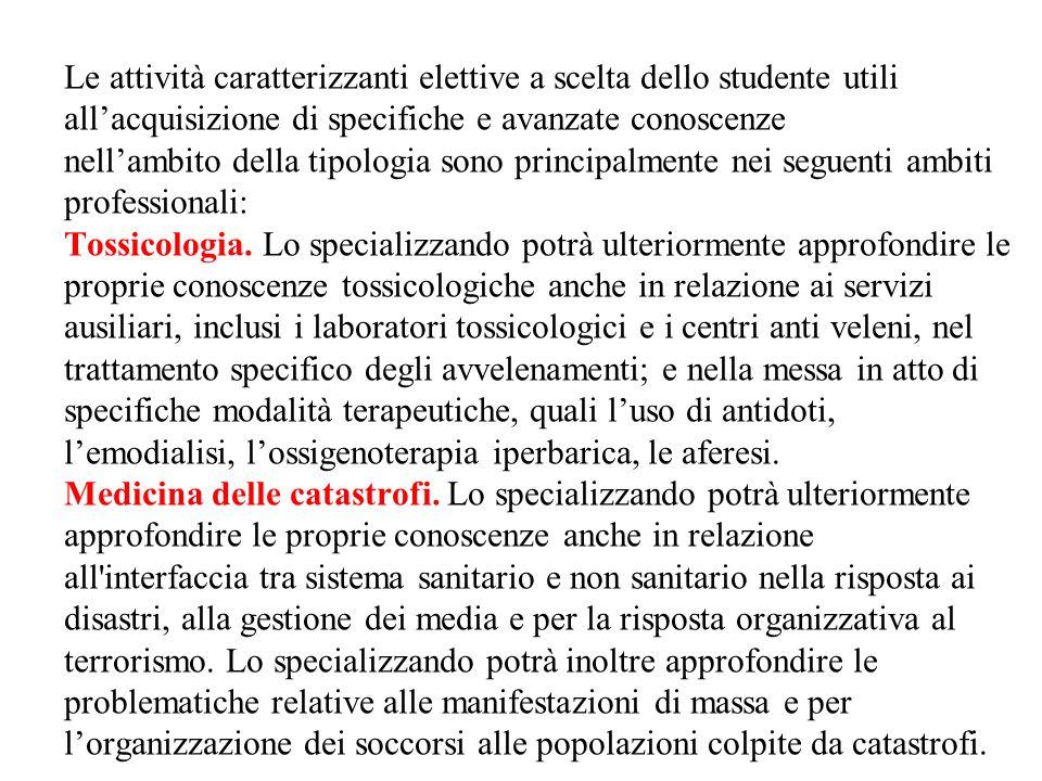 Le attività caratterizzanti elettive a scelta dello studente utili all'acquisizione di specifiche e avanzate conoscenze nell'ambito della tipologia sono principalmente nei seguenti ambiti professionali: Tossicologia.