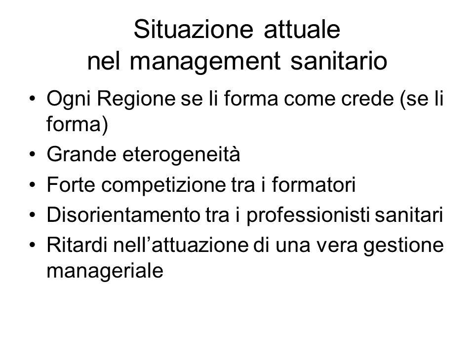 Situazione attuale nel management sanitario