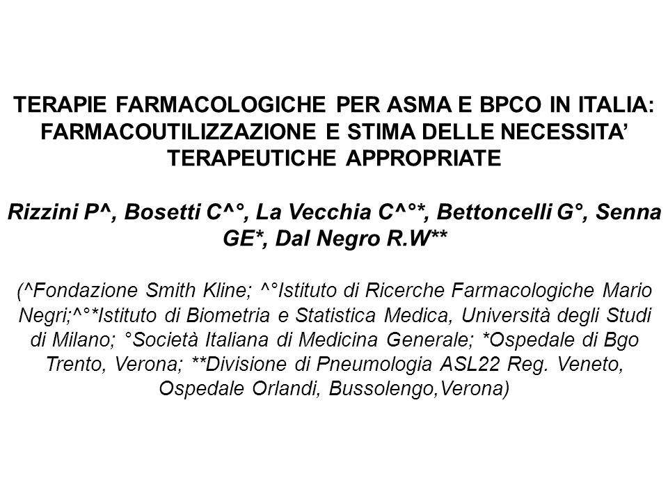 TERAPIE FARMACOLOGICHE PER ASMA E BPCO IN ITALIA: FARMACOUTILIZZAZIONE E STIMA DELLE NECESSITA' TERAPEUTICHE APPROPRIATE