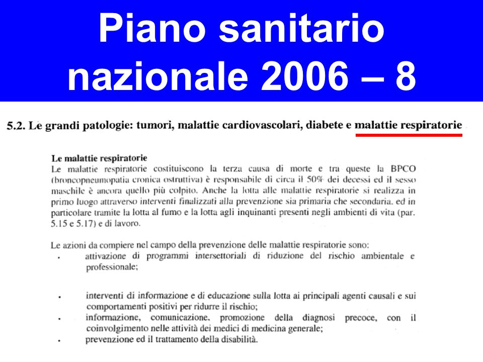 Piano sanitario nazionale 2006 – 8
