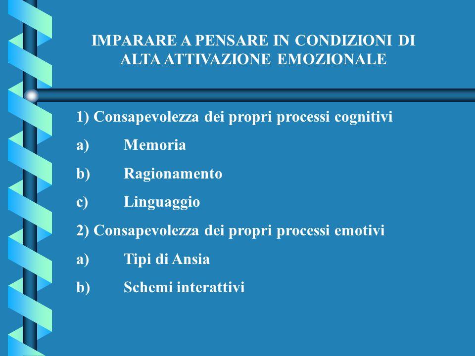 IMPARARE A PENSARE IN CONDIZIONI DI ALTA ATTIVAZIONE EMOZIONALE