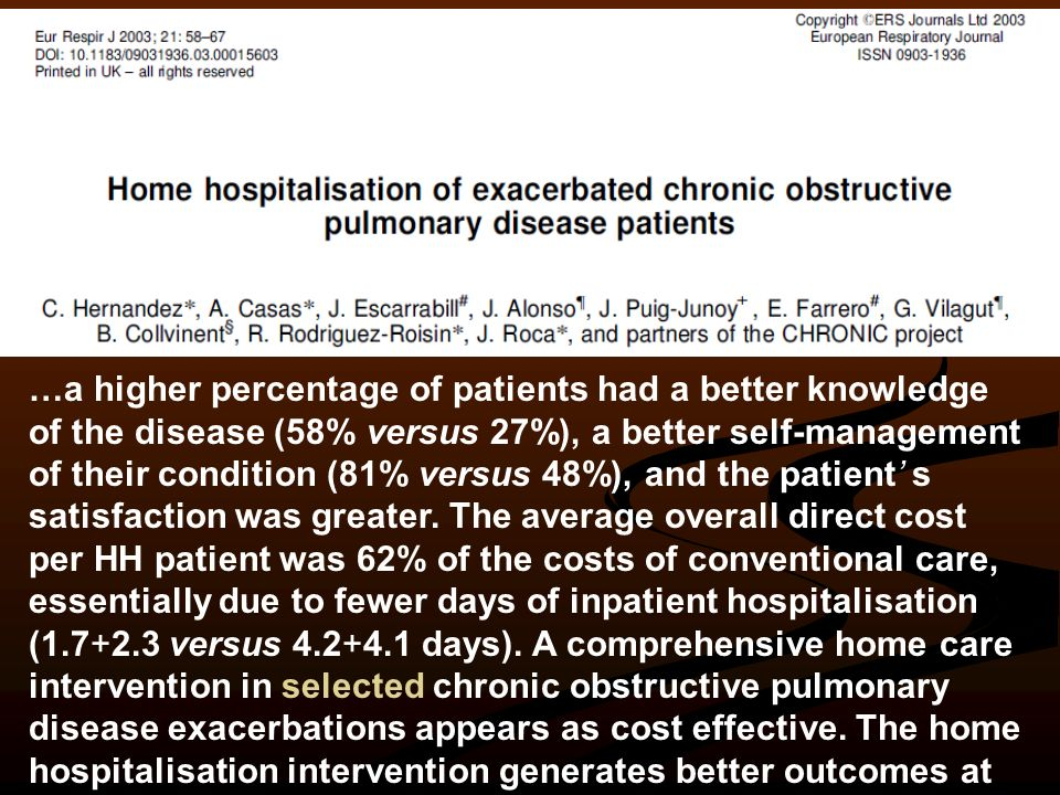 …a higher percentage of patients had a better knowledge of the disease (58% versus 27%), a better self-management of their condition (81% versus 48%), and the patient' s satisfaction was greater.