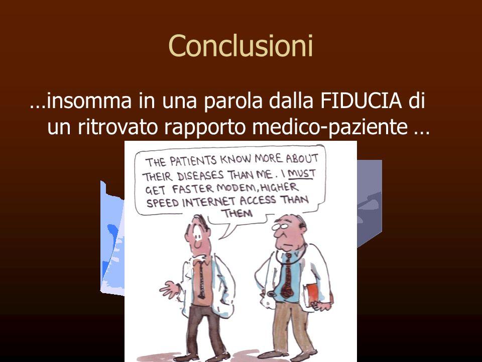 Conclusioni …insomma in una parola dalla FIDUCIA di un ritrovato rapporto medico-paziente …