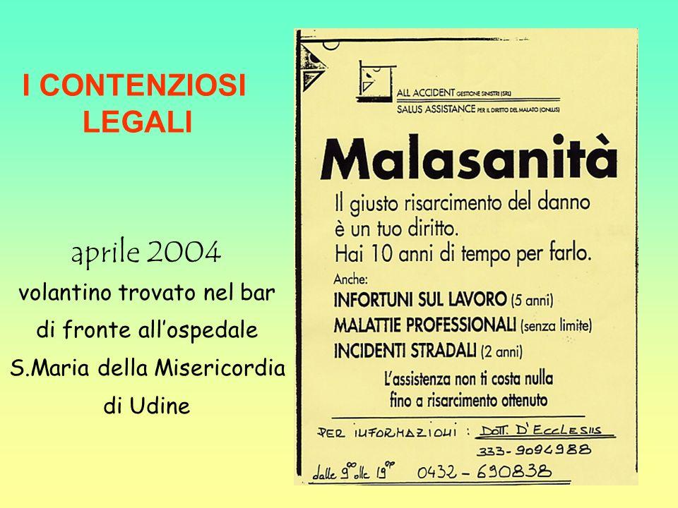 I CONTENZIOSI LEGALI aprile 2004
