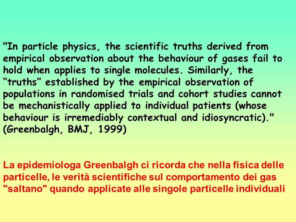 In particle physics, the scientific truths derived from empirical observation about the behaviour of gases fail to hold when applies to single molecules. Similarly, the truths established by the empirical observation of populations in randomised trials and cohort studies cannot be mechanistically applied to individual patients (whose behaviour is irremediably contextual and idiosyncratic). (Greenbalgh, BMJ, 1999)