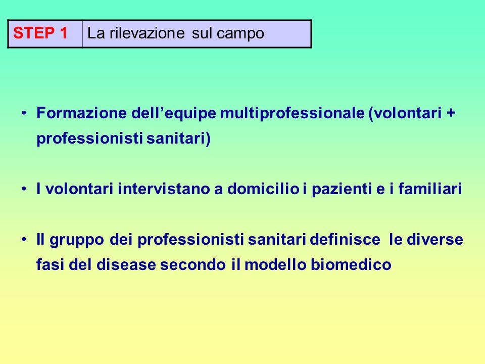 STEP 1 La rilevazione sul campo. Formazione dell'equipe multiprofessionale (volontari + professionisti sanitari)
