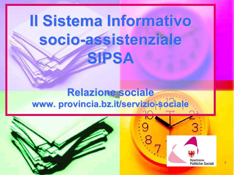 Il Sistema Informativo socio-assistenziale SIPSA Relazione sociale www