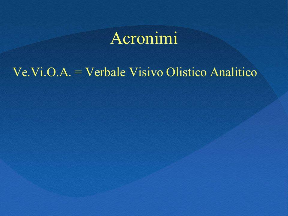 Acronimi Ve.Vi.O.A. = Verbale Visivo Olistico Analitico