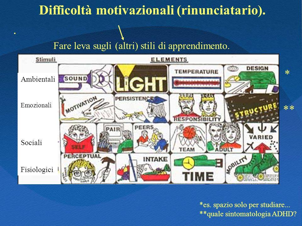Difficoltà motivazionali (rinunciatario).