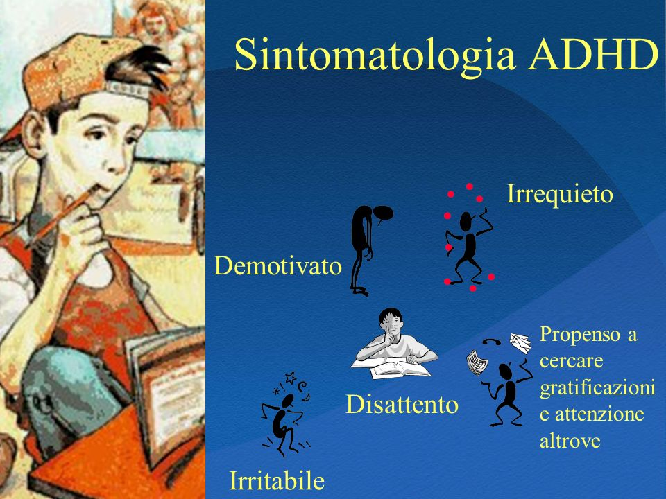 Sintomatologia ADHD Irrequieto Demotivato Disattento Irritabile
