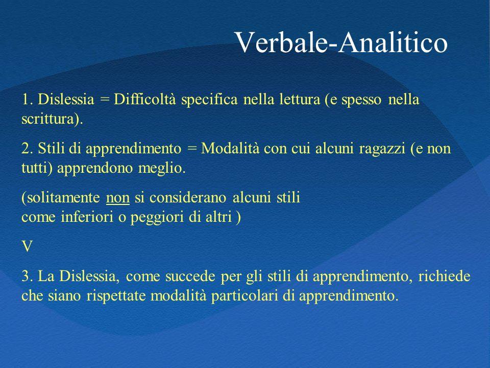 Verbale-Analitico 1. Dislessia = Difficoltà specifica nella lettura (e spesso nella scrittura).