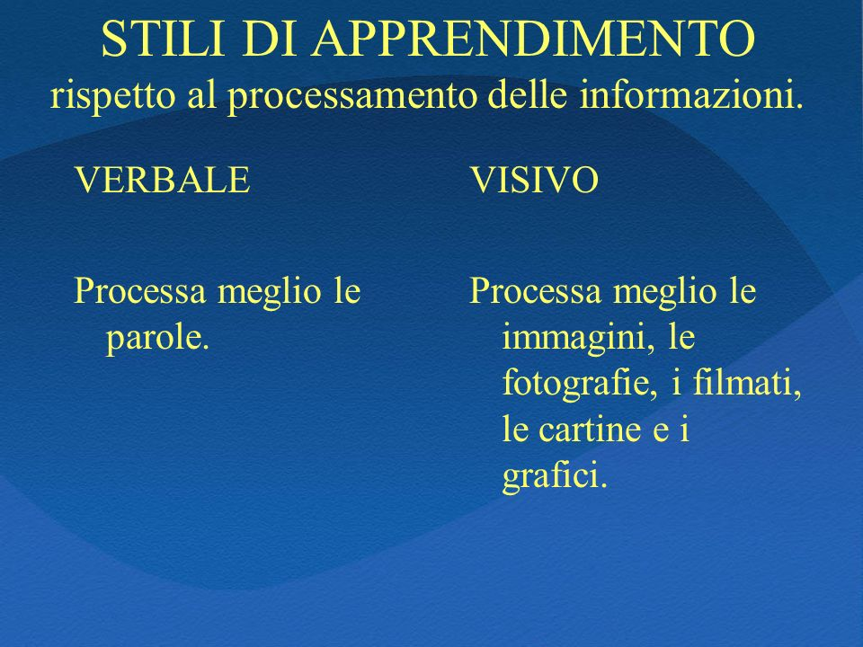 STILI DI APPRENDIMENTO rispetto al processamento delle informazioni.