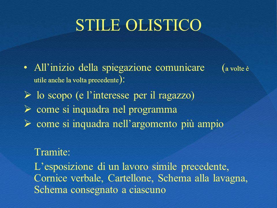 STILE OLISTICOAll'inizio della spiegazione comunicare (a volte è utile anche la volta precedente):