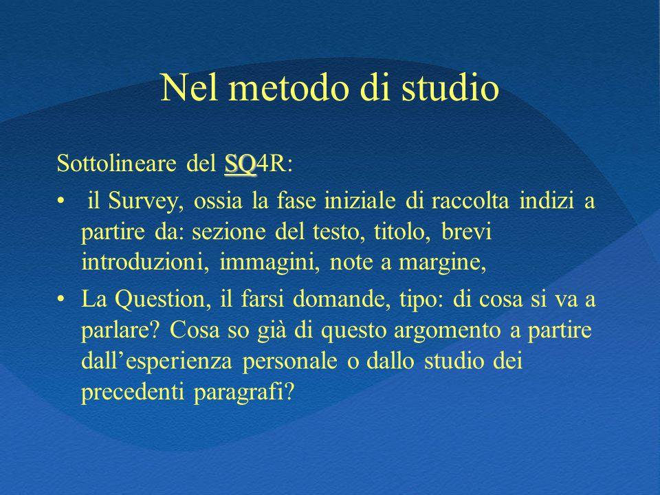 Nel metodo di studio Sottolineare del SQ4R: