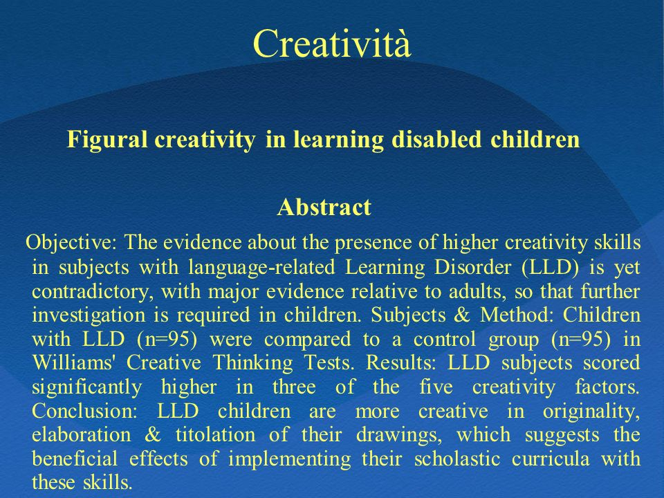 Figural creativity in learning disabled children