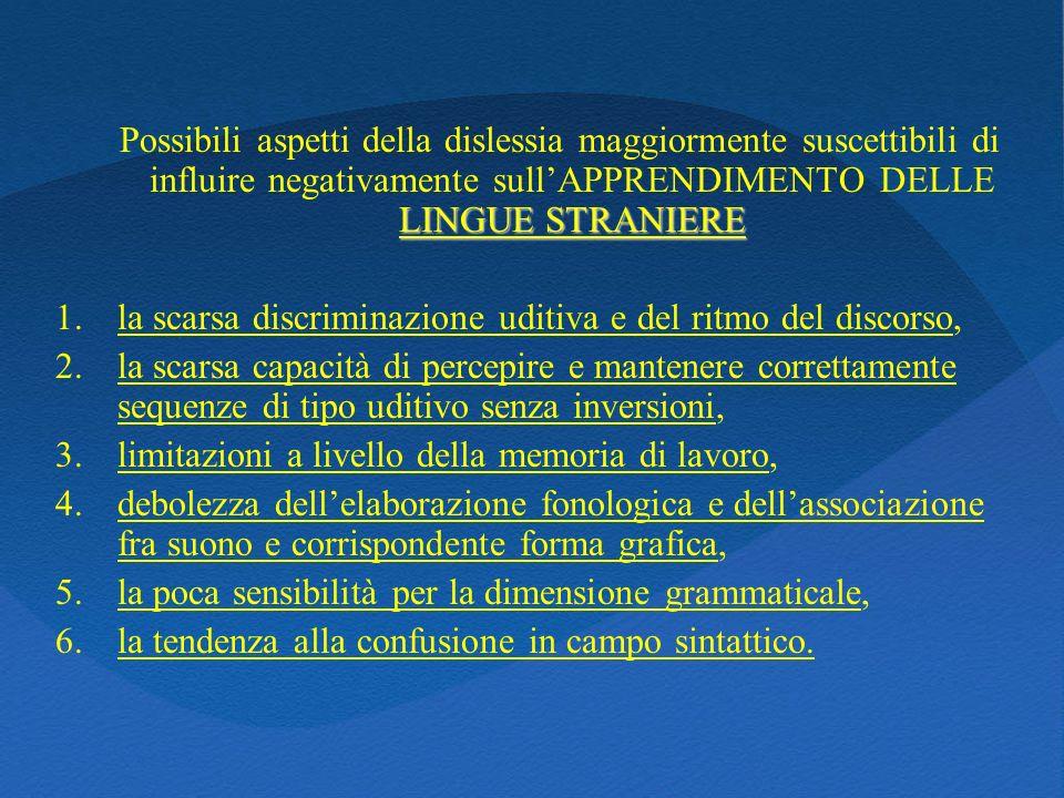 Possibili aspetti della dislessia maggiormente suscettibili di influire negativamente sull'APPRENDIMENTO DELLE LINGUE STRANIERE
