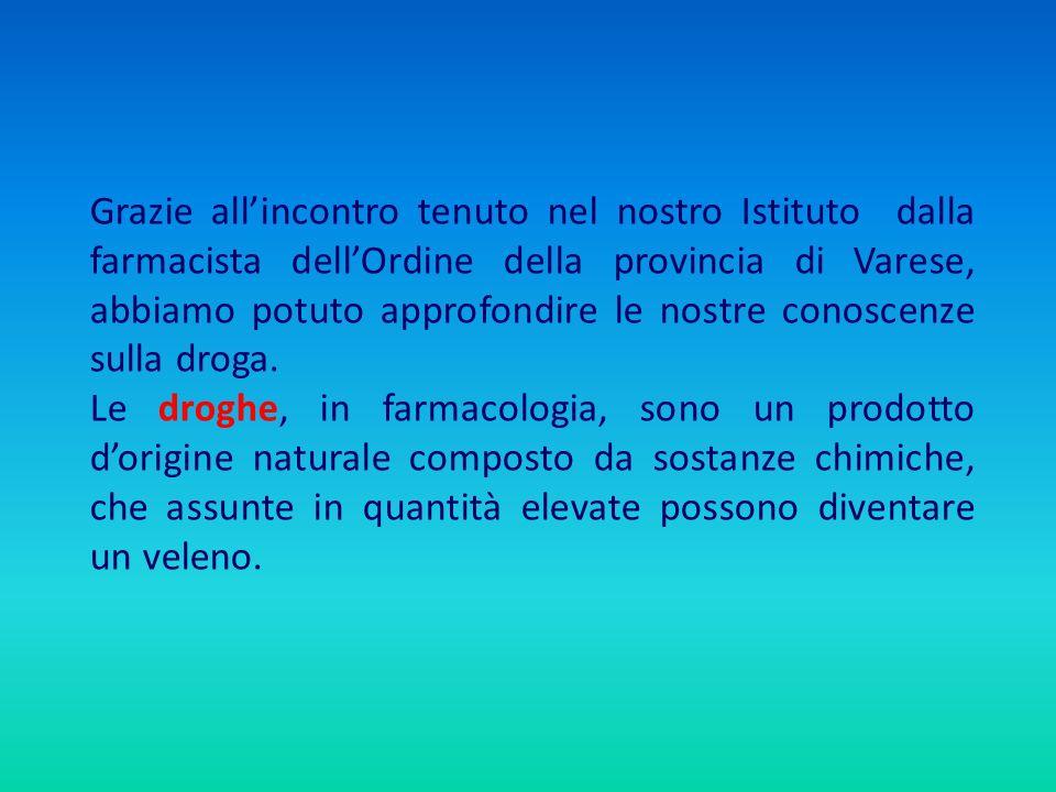 Grazie all'incontro tenuto nel nostro Istituto dalla farmacista dell'Ordine della provincia di Varese, abbiamo potuto approfondire le nostre conoscenze sulla droga.
