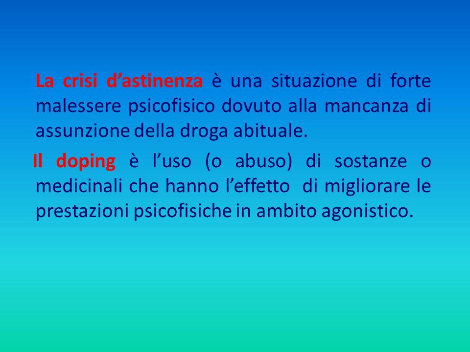 La crisi d'astinenza è una situazione di forte malessere psicofisico dovuto alla mancanza di assunzione della droga abituale.