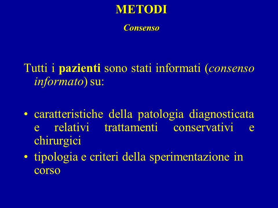 Tutti i pazienti sono stati informati (consenso informato) su: